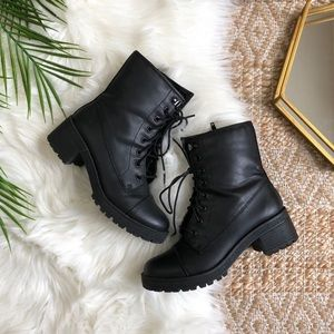 Madden Girl Black Lace Up Combat Boots